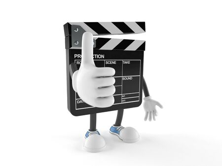 all right: Film slate character with thumbs up isolated on white background