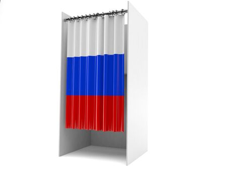 Vote cabinet with russian flag isolated on white background