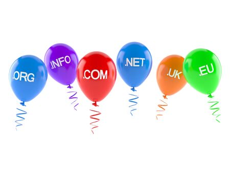 domains: Domains with balloons isolated on white background