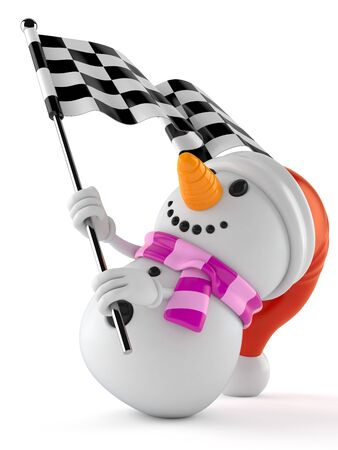 Snowman character waving race flag isolated on white background