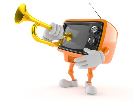 Retro TV character playing the trumpet isolated on white background