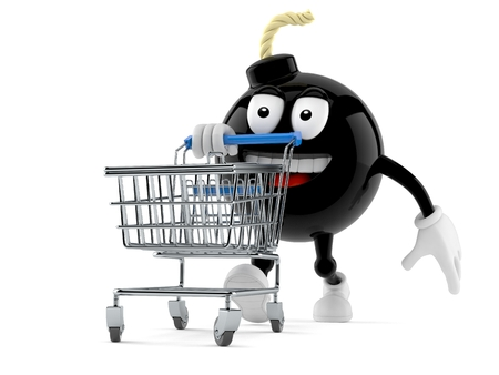 Bomb character with shopping cart isolated on white background Stock Photo