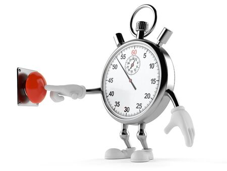 beginnings: Stopwatch character pushing button isolated on white background Stock Photo