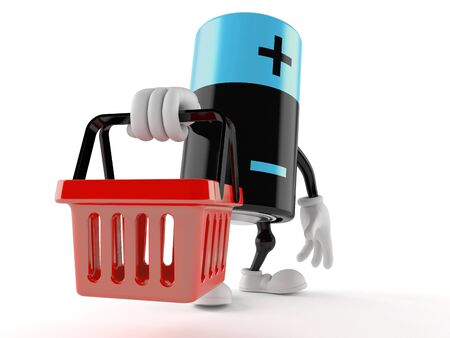 purchasing power: Battery character holding shopping basket isolated on white background