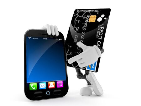 Credit card character with smart phone isolated on white background