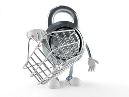 Combination lock character holding shopping basket isolated on white background Stock Photo