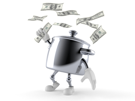 Kitchen pot character with money isolated on white background