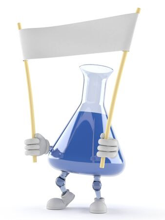 Chemistry flask character holding banner on white background Stock Photo