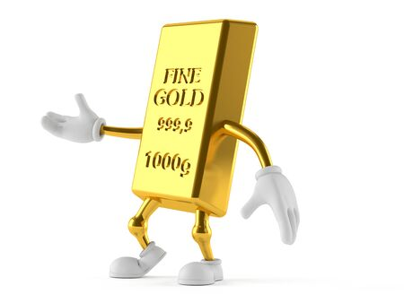 Gold character isolated on white background