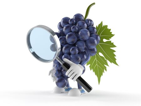 Grapes character looking through magnifying glass isolated on white background