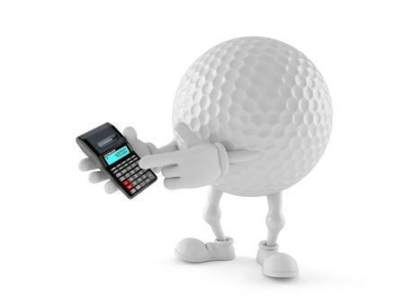 Golf ball character using calculator isolated on white background