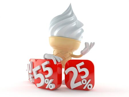 Ice cream character with percent numbers isolated on white background Stock Photo