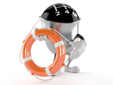 Gear knob character holding life buoy isolated on white background Stock Photo