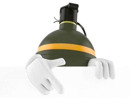 cartoon bomb: Hand grenade character isolated on white background
