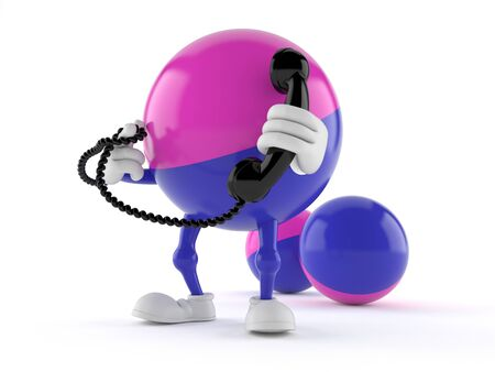 Paintball character holding a telephone handset isolated on white background Stock Photo