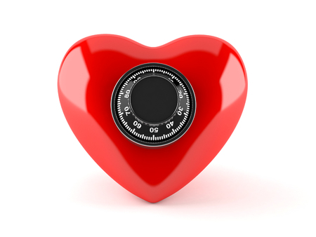 Heart with combination lock isolated on white background