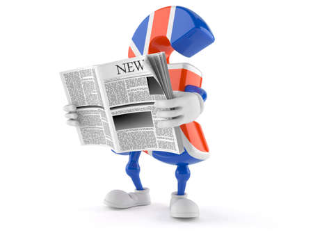 Pound currency toon reading newspaper isolated on white background Stock Photo
