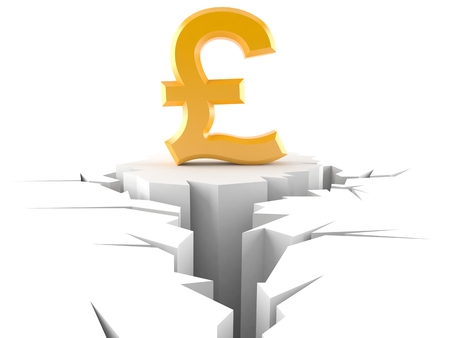 financial cliff: Pound crisis concept isolated on white background Stock Photo