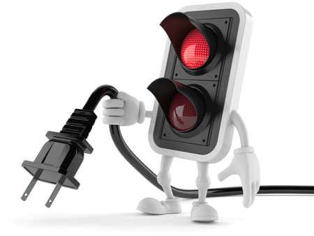 Red traffic light toon with electric plug isolated on white background Stock Photo