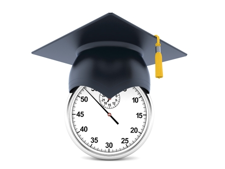 Stopwatch with mortarboard isolated on white background
