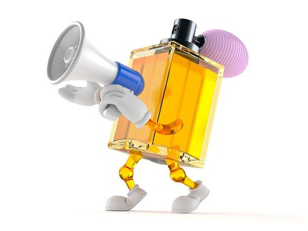 Perfume character speaking through a megaphone isolated on white background Stock Photo