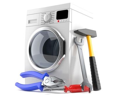 Washing machine with work tools isolated on white background