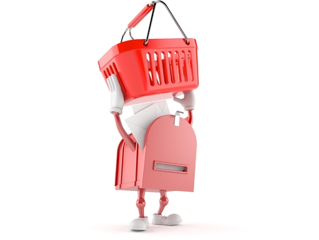 Mailbox character holding shopping basket isolated on white background Stock Photo