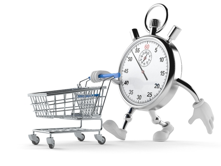 Stopwatch character with shopping cart isolated on white background
