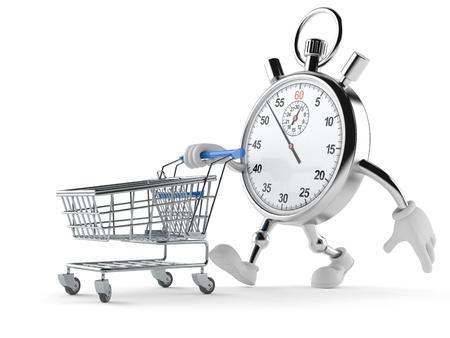 Chronometerkarakter met boodschappenwagentje op witte achtergrond wordt geïsoleerd die