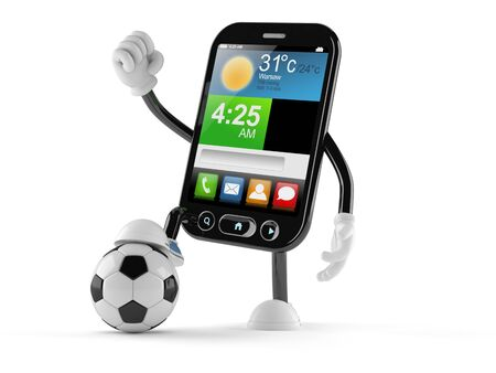 Smart phone character with soccer ball isolated on white background