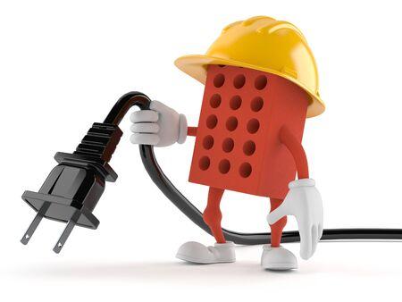 masonry: Brick character holding electric plug isolated on white background Stock Photo