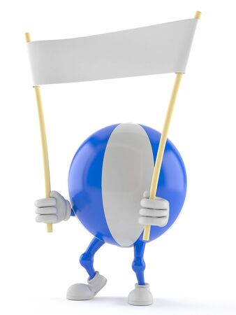 Beach ball character holding blank banner isolated on white background