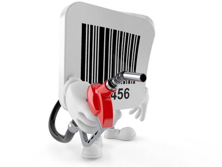 Barcode character holding gasoline nozzle isolated on white background Stock Photo