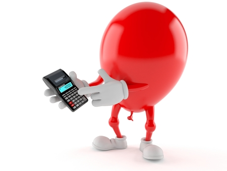 Balloon character using calculator isolated on white background