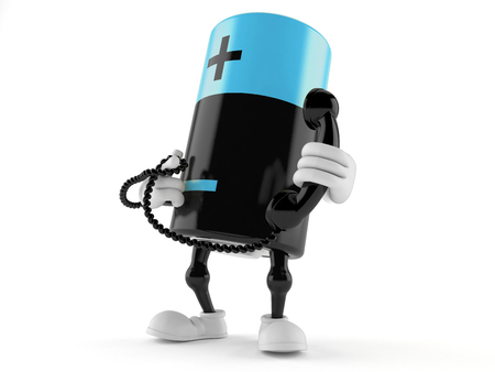 hotline: Battery character holding a telephone handset isolated on white background