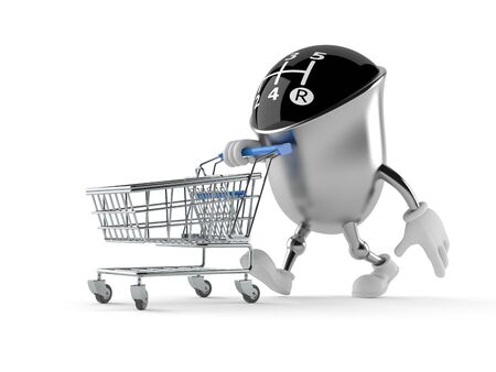 Gear knob character with shopping cart isolated on white background
