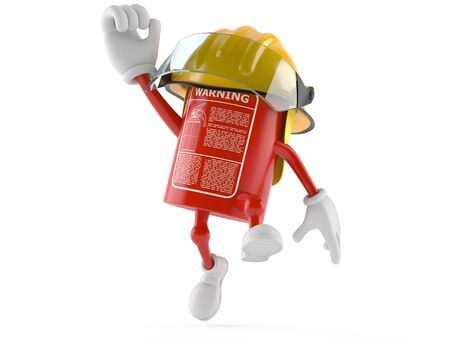 Fire extinguisher character jumping on white background
