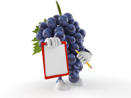 Grapes character with blank clipboard isolated on white background