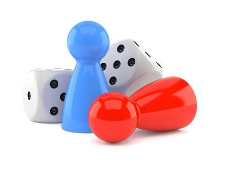 흰색 배경에 고립 된 보드 게임 개념