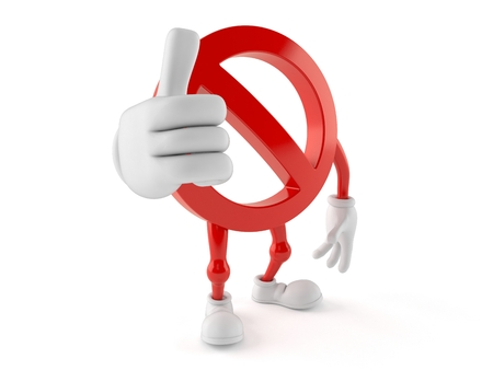 all ok: Forbidden character with thumbs up isolated on white background
