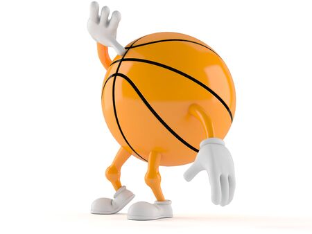 finding out: Basketball character looking up isolated on white background Stock Photo