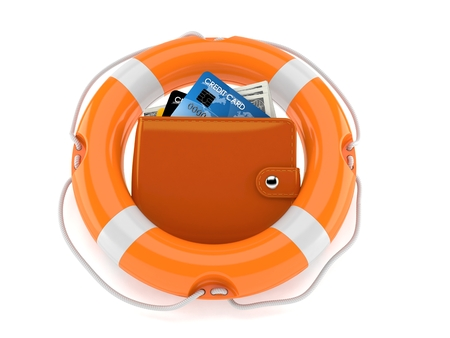 Wallet inside life buoy isolated on white background Stock Photo
