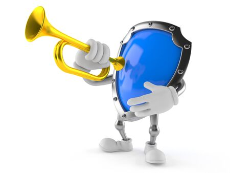 Shield character playing the trumpet isolated on white background Stock Photo