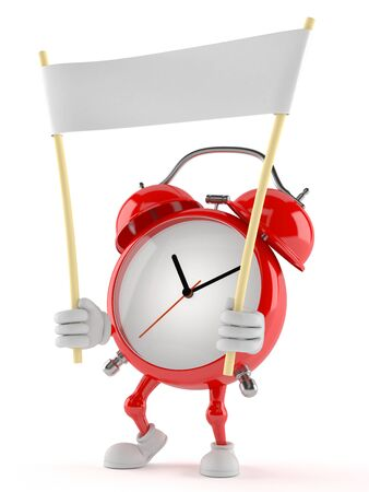 Alarm clock character holding blank banner isolated on white background Stock Photo