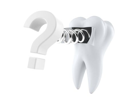 Tooth with question mark isolated on white background Stock Photo