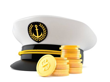 Captains hat with stack of coins isolated on white background Stock Photo