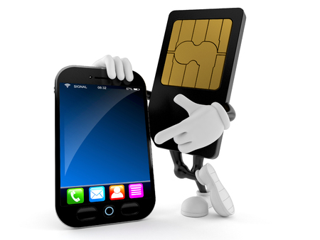 SIM card character with smart phone isolated on white background