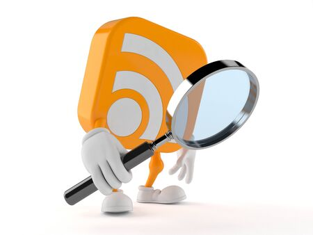 RSS character looking through magnifying glass isolated on white background