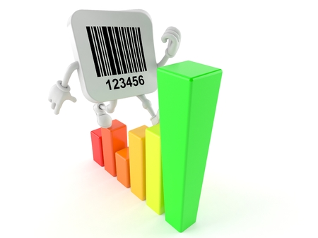 price development: Barcode character with chart isolated on white background Stock Photo