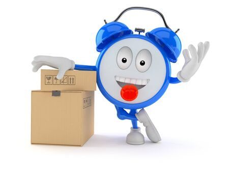 Alarm clock character with stack of boxes isolated on white background Stock Photo